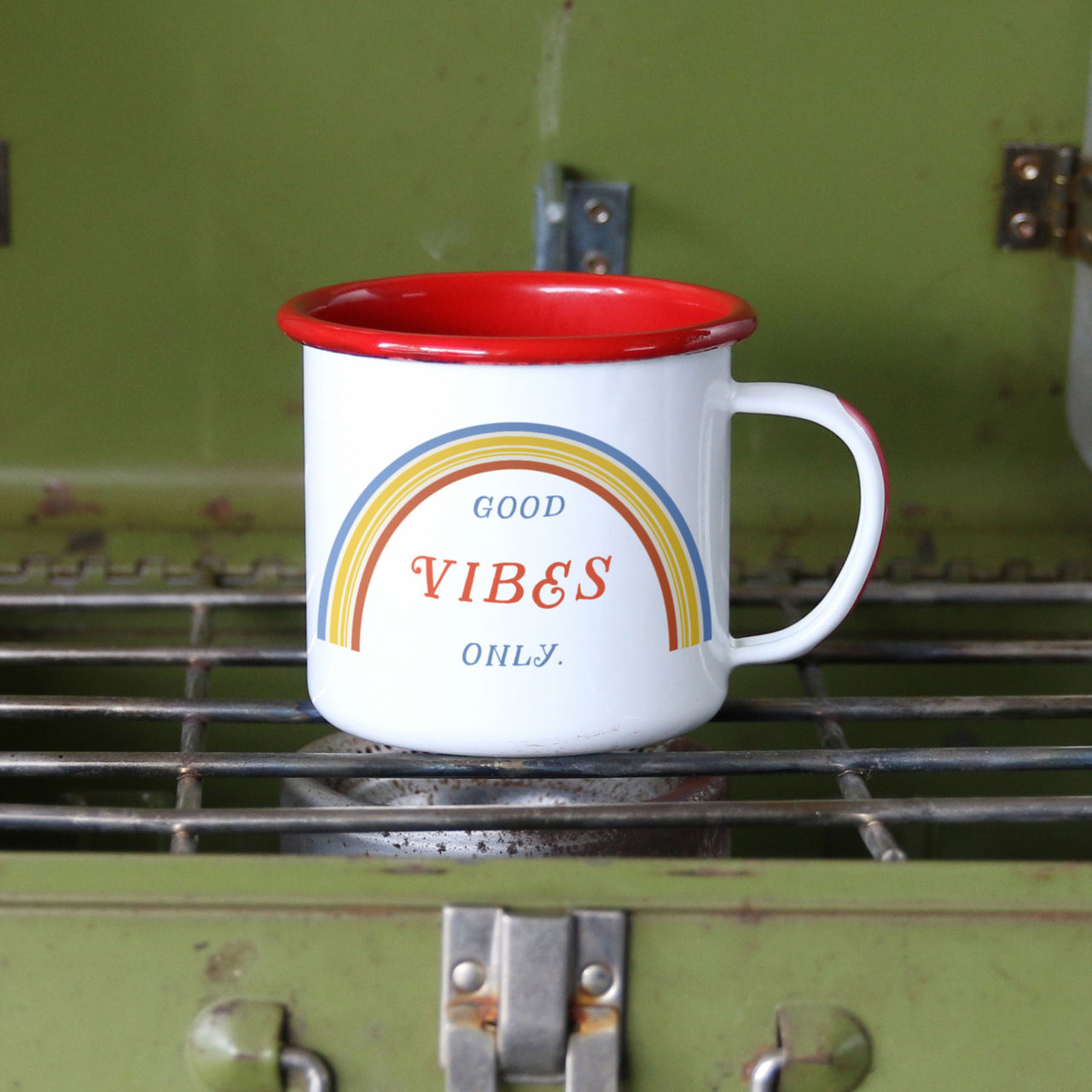 Good Vibes Only Retro 70s Enamel Camping Mug