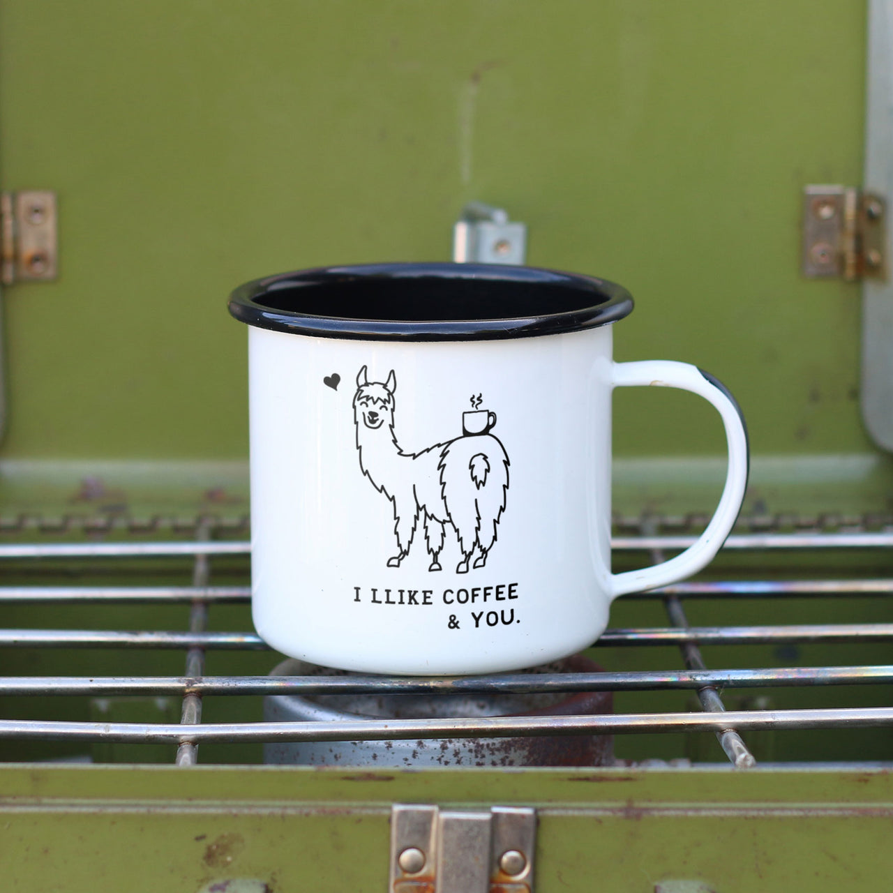 I Llike Coffee and You - Llama Mug - Llama Pun Camp Mug