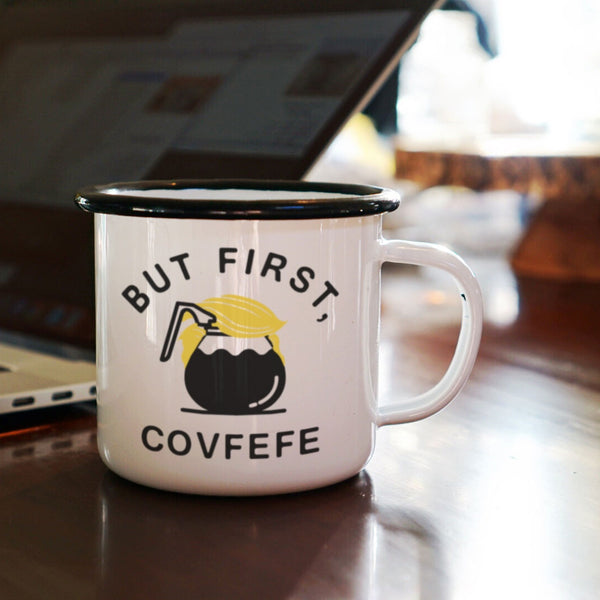 Covfefe Coffee Mug - Funny Trump Hair Enamel Mug-Enamel Co.