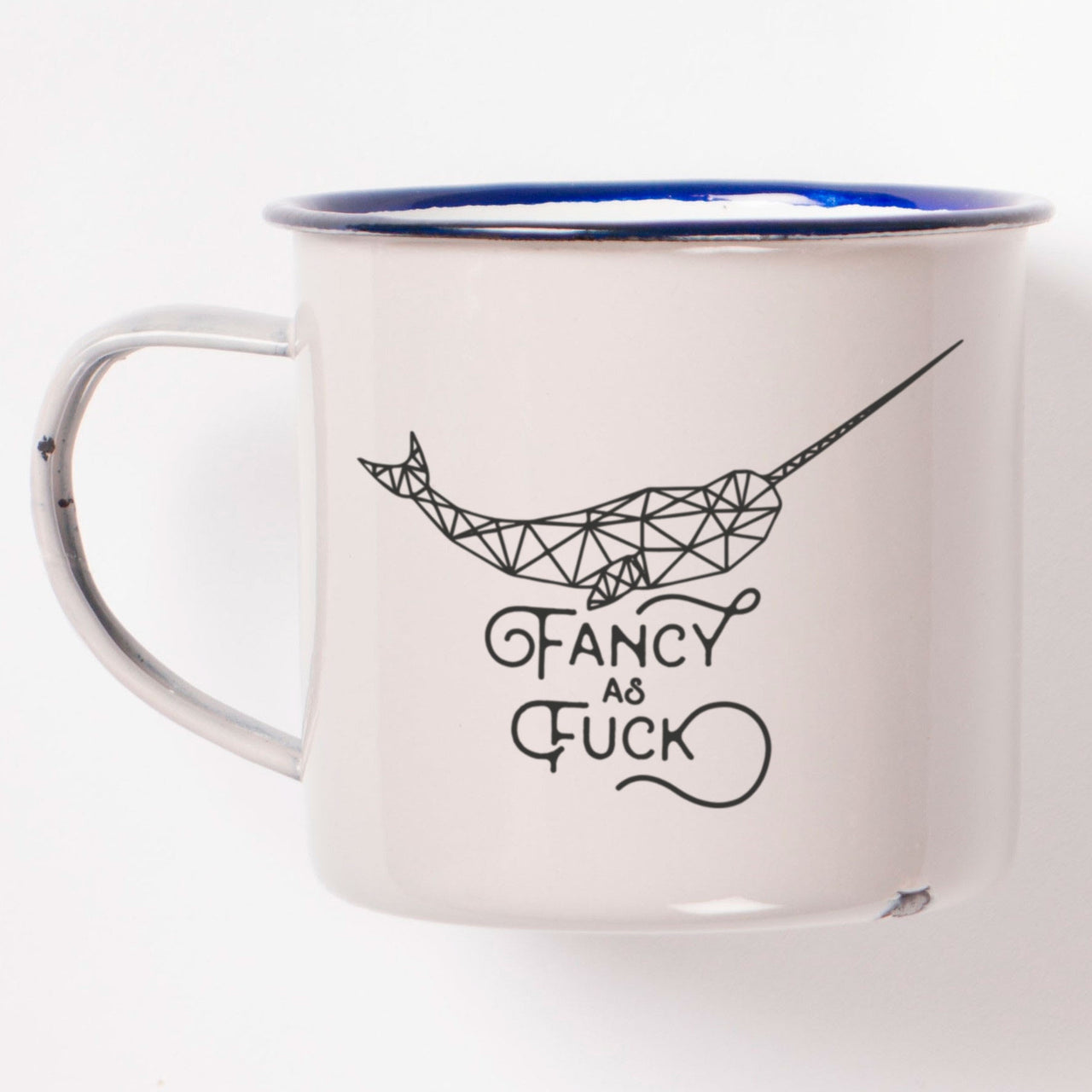 Fancy As Fuck Funny Rude Narwhal Coffee Mug - enamel mug