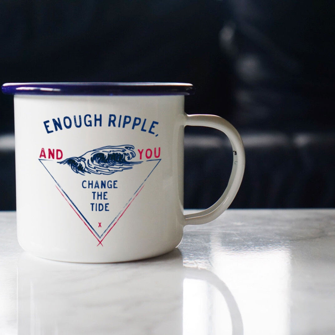 Enough Ripple and You Change the Tide Motivational Coffee Mug Enamel