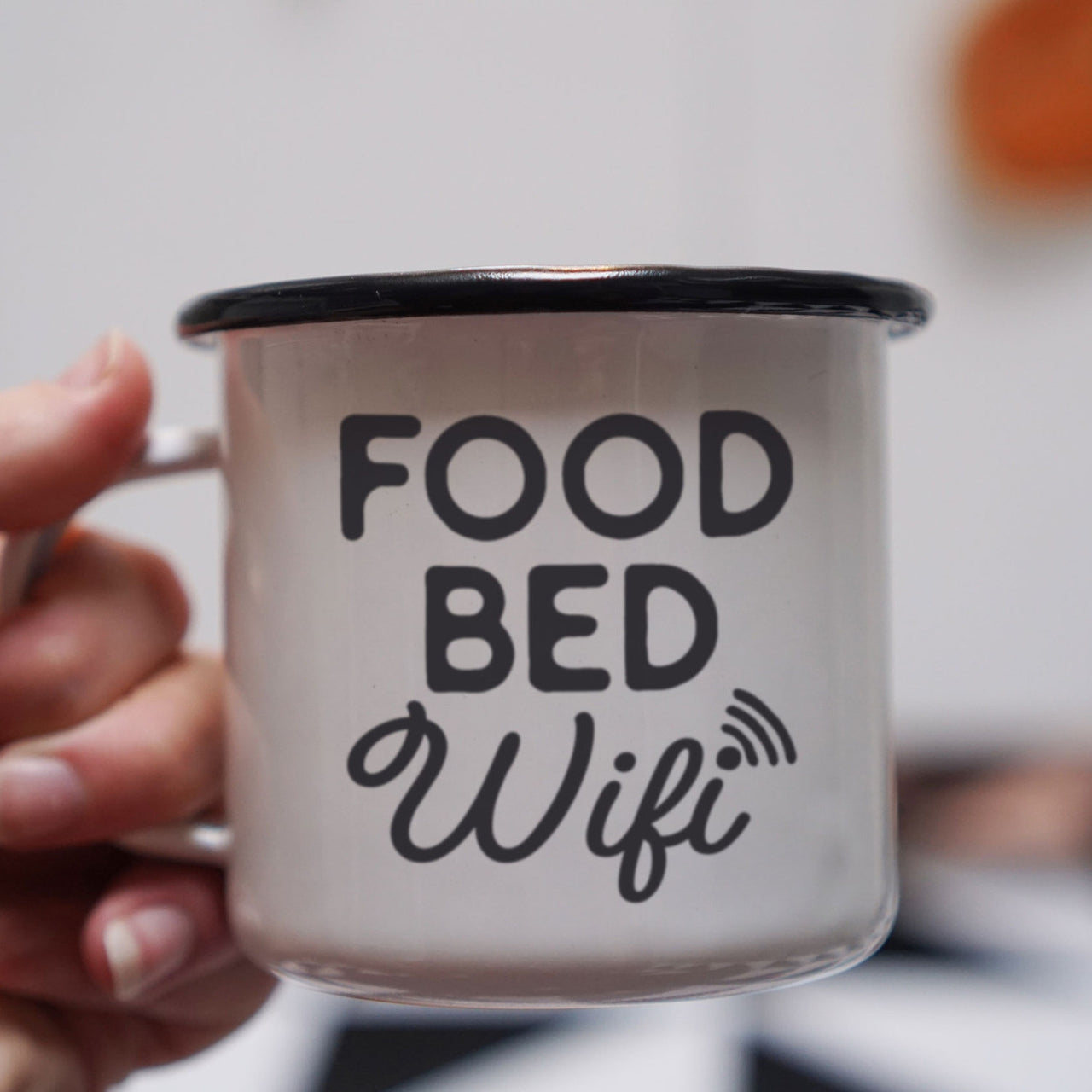 Food Bed Wifi Funny Enamel Mug
