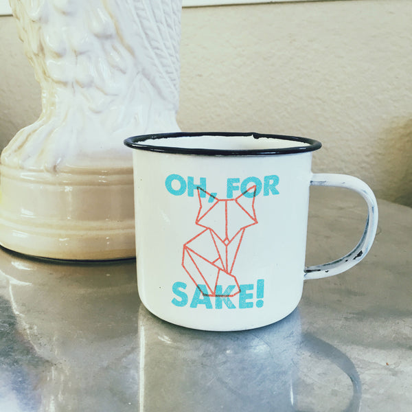 "Retro Letterpress ""Oh For Fox Sake"" Enamel Mug with Geometric Fox-Enamel Co."