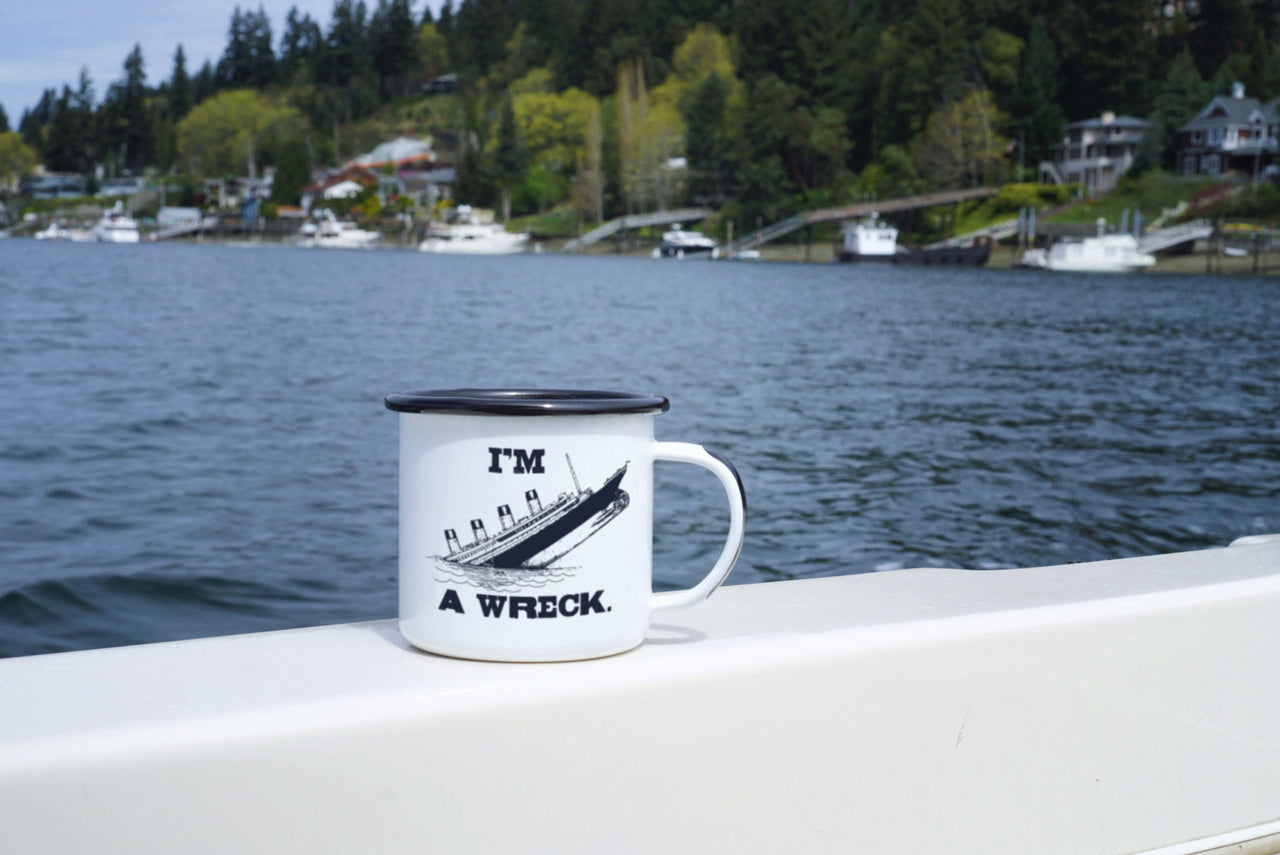 "Funny and Sad ""I'm a Wreck"" Sinking Ship Camp Mug"