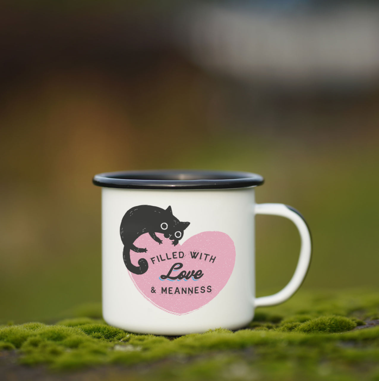 Filled with Love and Meanness Cat Enamel Mug
