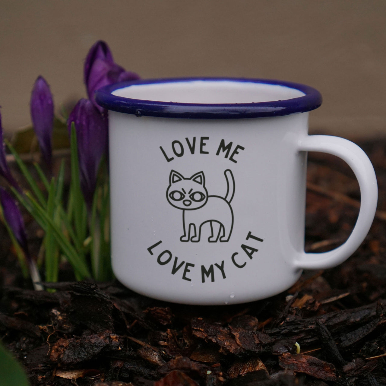 Cat Lover's Enamel Mug: Love Me, Love My Cat-Enamel Co.