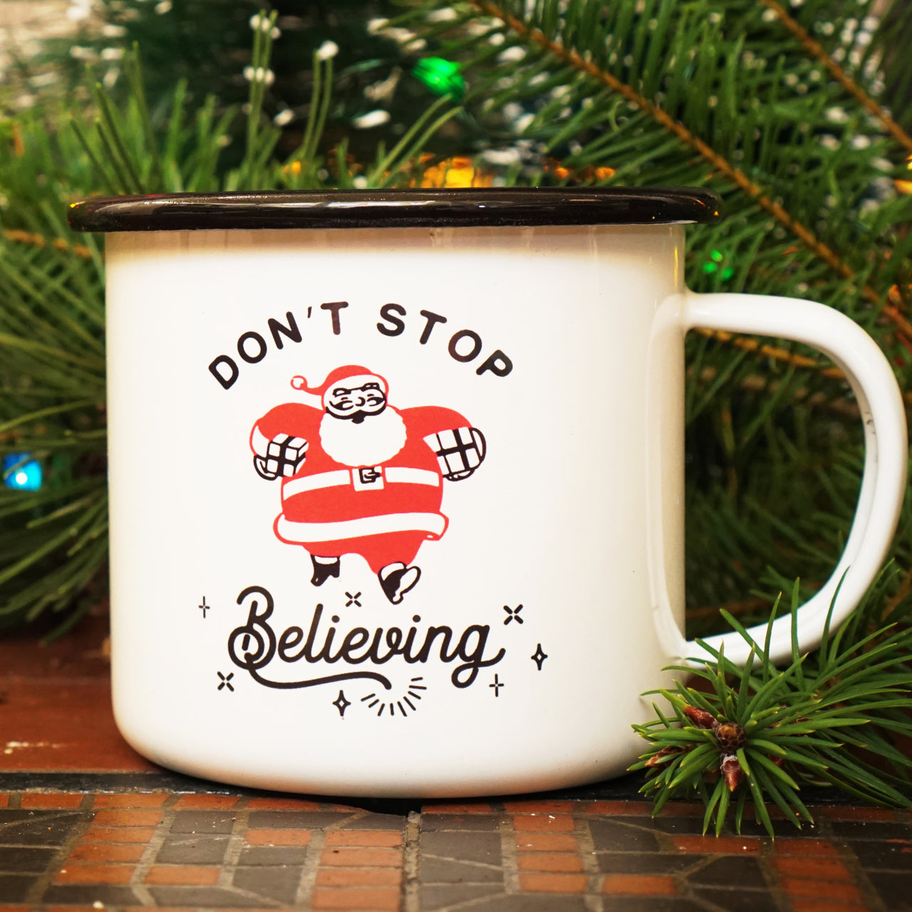 "Adorable ""Don't Stop Believing"" Retro Santa Mug"