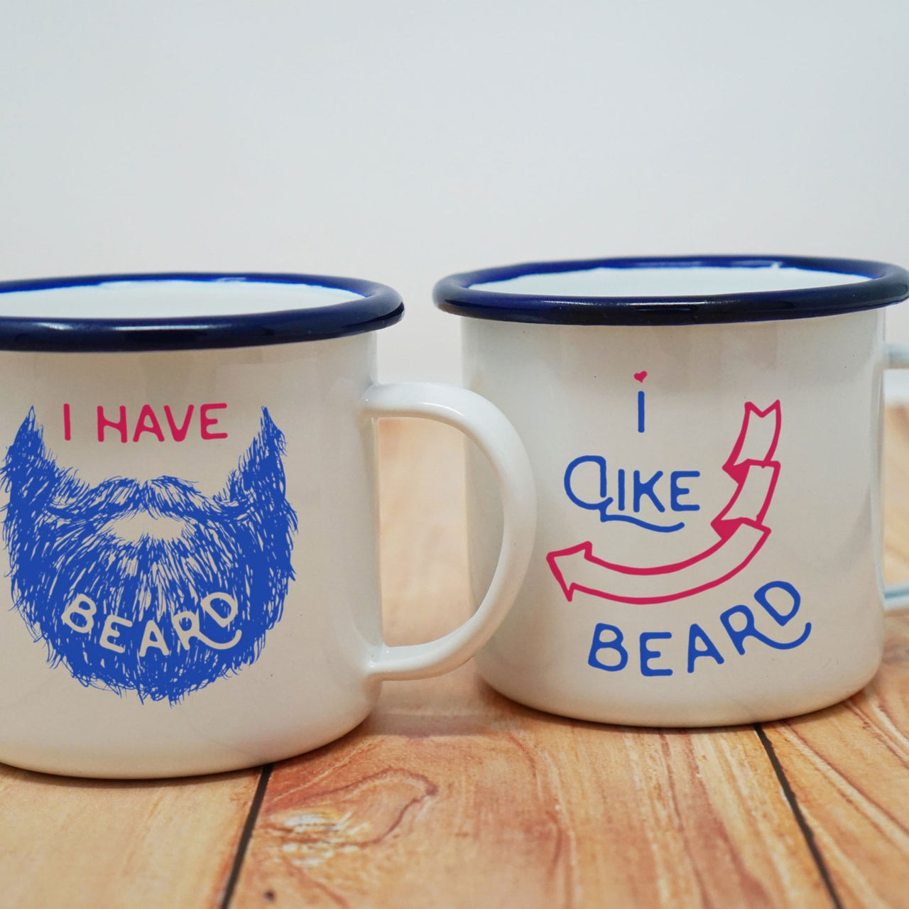 Couples Coffee Mug Set: I Have Beard/I Like Beard Enamel Mugs-Enamel Co.