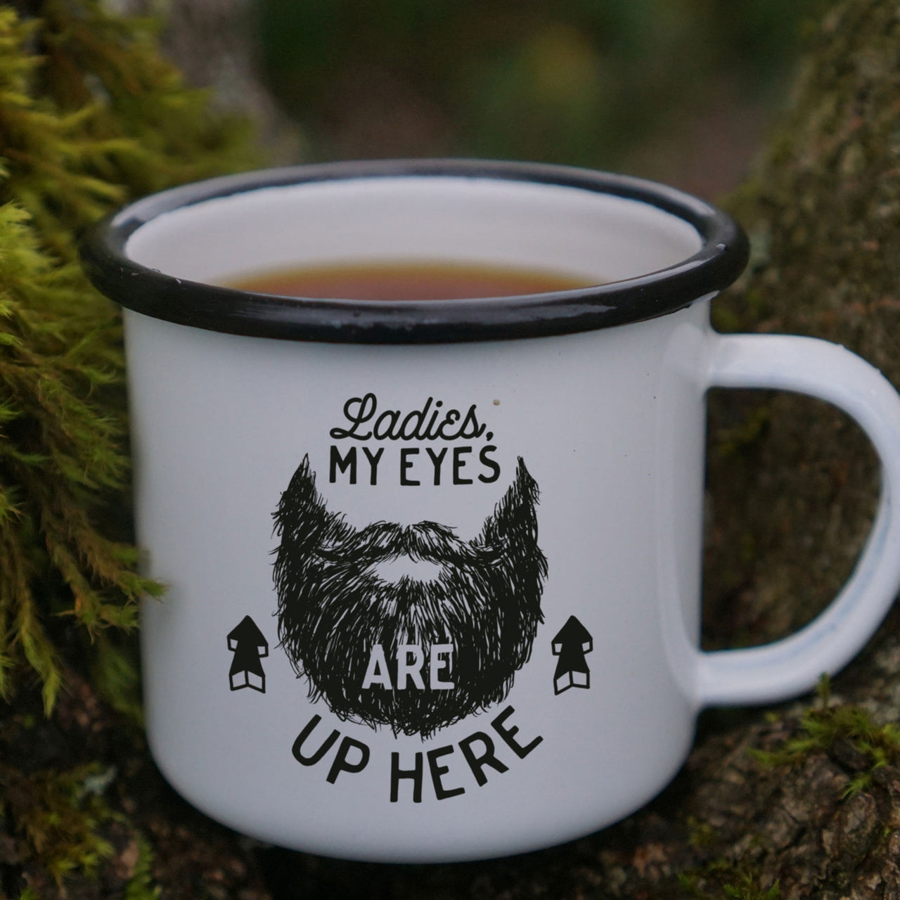 Ladies, My Eyes are Up Here - Funny Man's Coffee Mug - Enamel Camping Mug-Enamel Co.