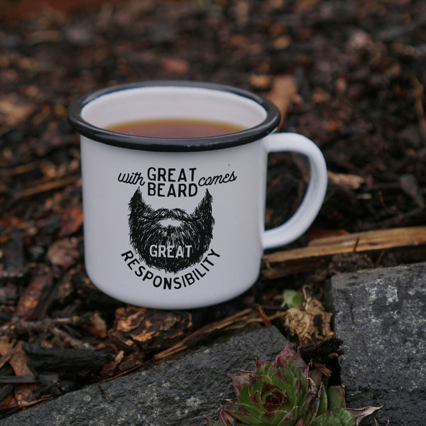 With Great Beard Comes Great Responsibility Mug - Men's Enamel Camping Mug-Enamel Co.