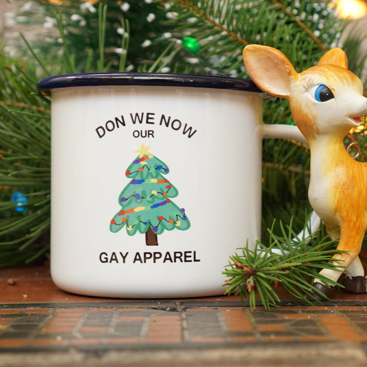 Gay Rainbow Christmas Mug: Don We Now Our Gay Apparel (& It Is Fabulous)