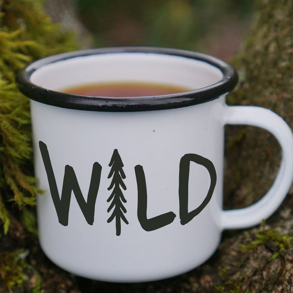 Wild Pine Tree Hiking Enamel Mug-Enamel Co.