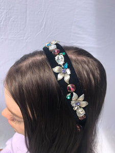 Black Velvet Rhinestone Bling Headband