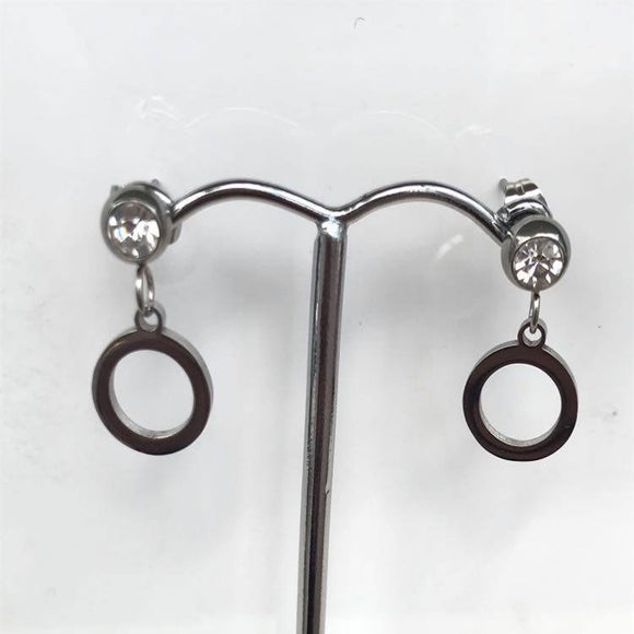 Silver Circle and Diamonte Drop Earrings