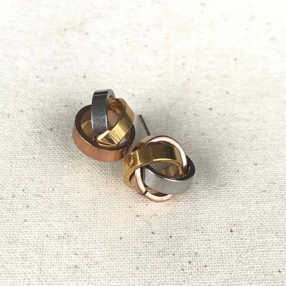 Gold, Rose Gold and Silver Earrings