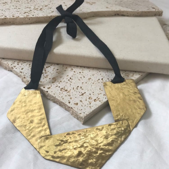 Brass with ribbon tie necklace