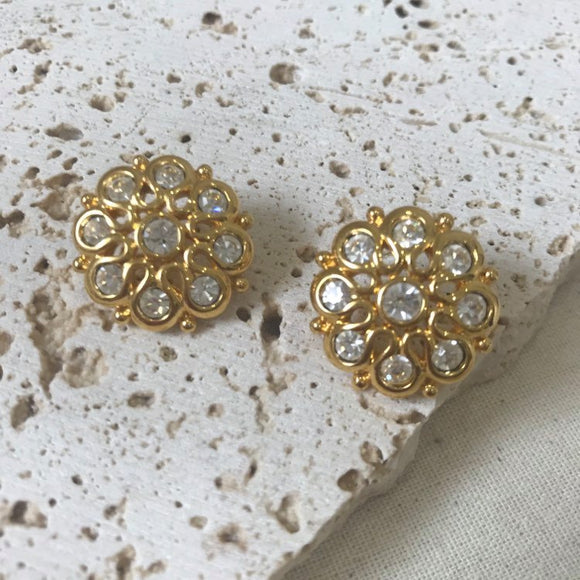 Gold flower and crystal earrings