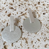 Brushed silver circle on silver bar earrings
