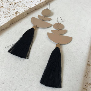 Geometric gold shapes with black tassel earrings