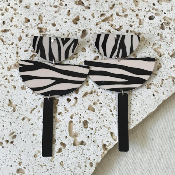 Brown and black zebra drop earrings