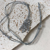 Grey leather with grey crystal necklace
