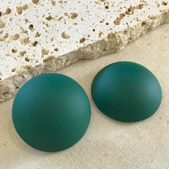Large green button earrings