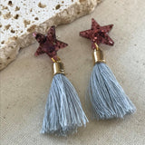 Shiraz star and grey tassle earrings