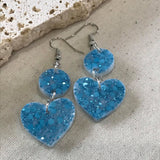 Sky blue glitter heart and circle drop earrings