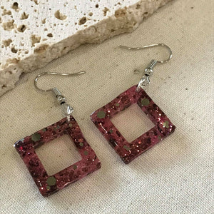 Shiraz and glitter triangle earrings