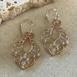 Gold and silver filigree earring