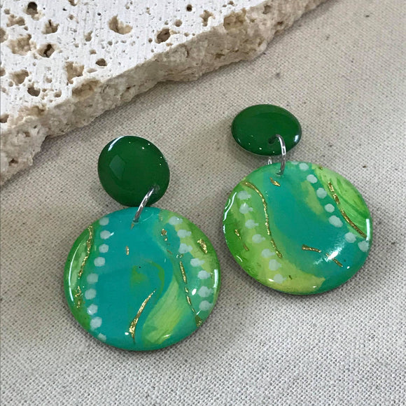Mint green water colour earring