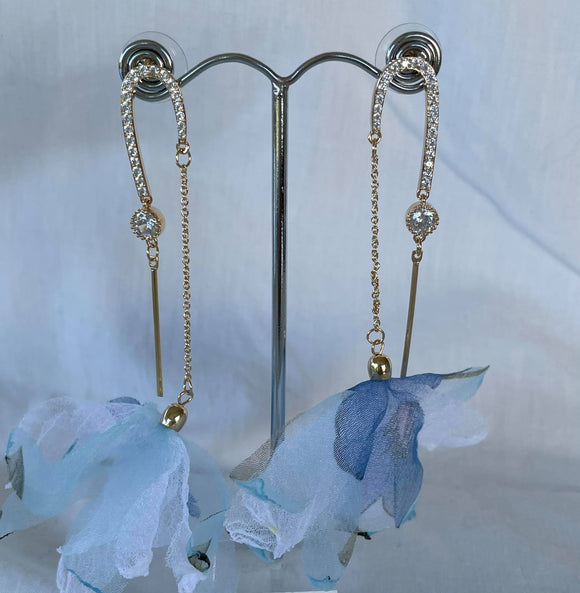 Fabric flowers on gold chain and crystal drop earrings