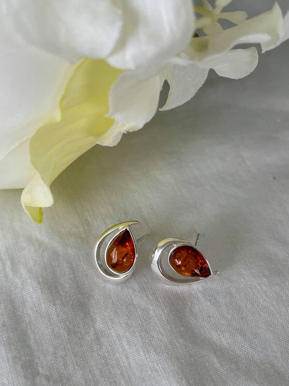 Silver and teardrop Amber stud earring