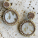 Tan cowhide look like beaded earrings