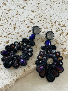 Navy blue cord and bed flower drop earrings