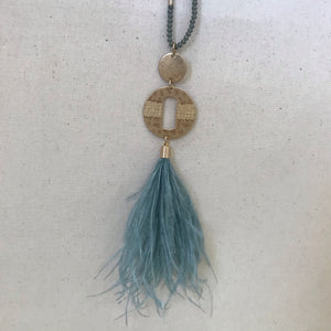 Turquoise feather beaded necklace