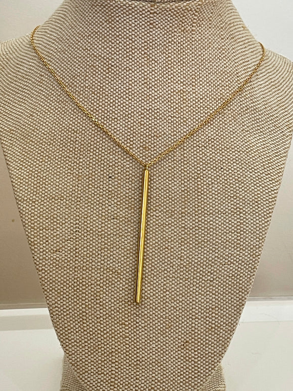 Gold necklace with long gold bar