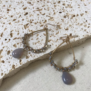 Gold tear drop earrings with grey beads