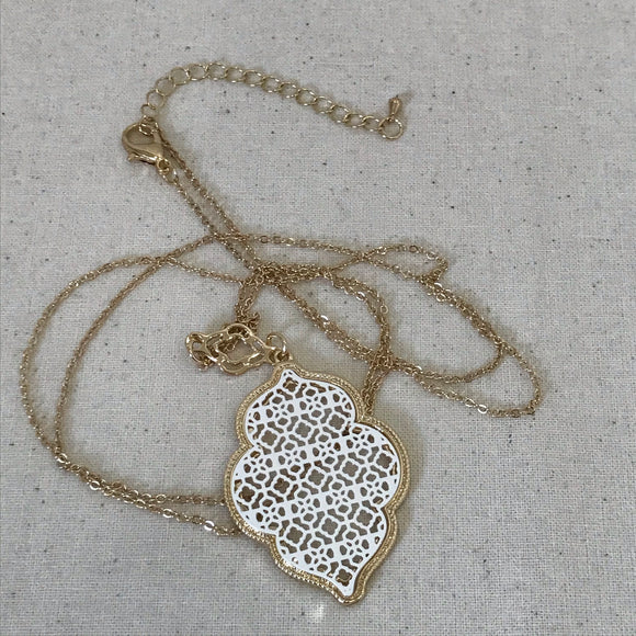 Dainty lace charm gold necklace