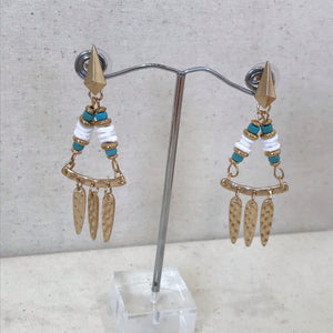 Gold and aqua Aztec earrings