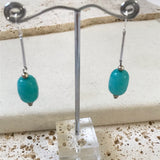 Turquoise rock silver drop earrings