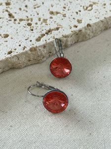 Silver hook earrings with rose coloured Swarovski crystal
