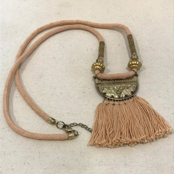 Brown tassel and cord necklace