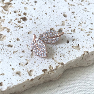 Dainty rose gold leaves with crystals