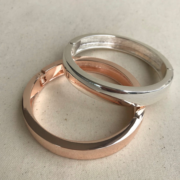 Solid silver or rose gold bangle