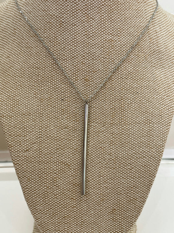 Sterling silver necklace with long silver bar