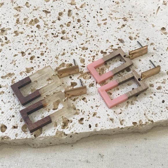 Wooden look rectangle earrings