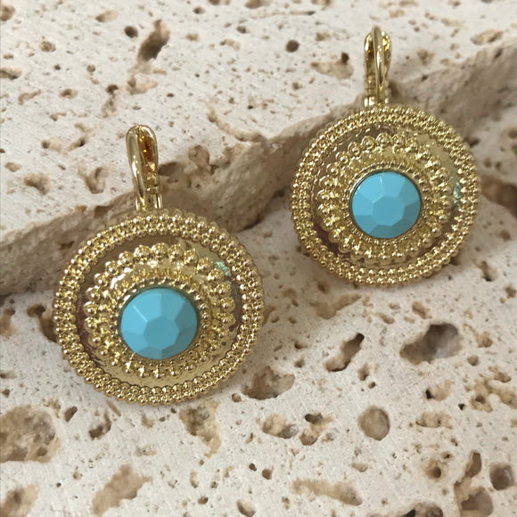 Dainty gold and aqua bead earrings