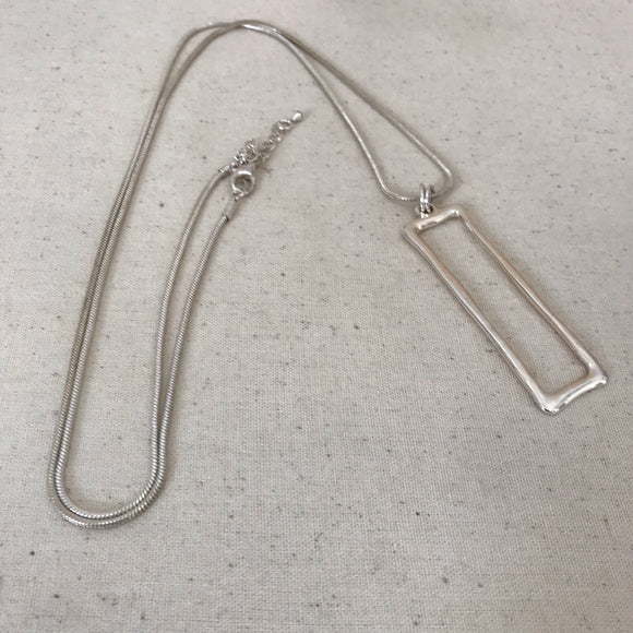 Silver rectangle with rope chain necklace