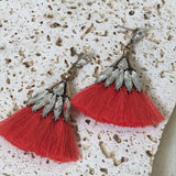 Coral tassels with crystal earrings